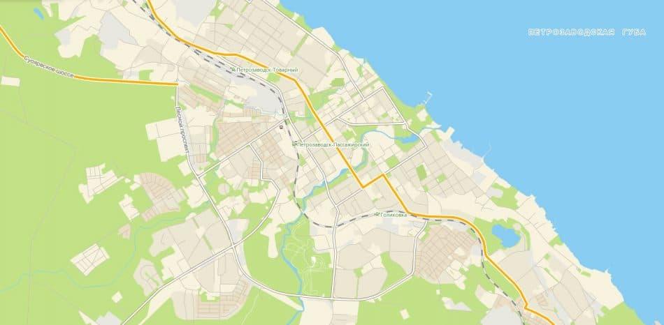 Улица Поленова на карте Петрозаводска