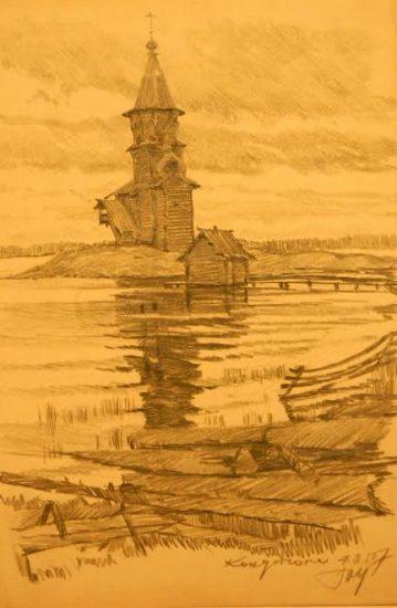 Юрий Ушаков. Успенская церковь в Кондопоге. 4 августа 1957 года. Рисунок из коллекции Юрия Линника