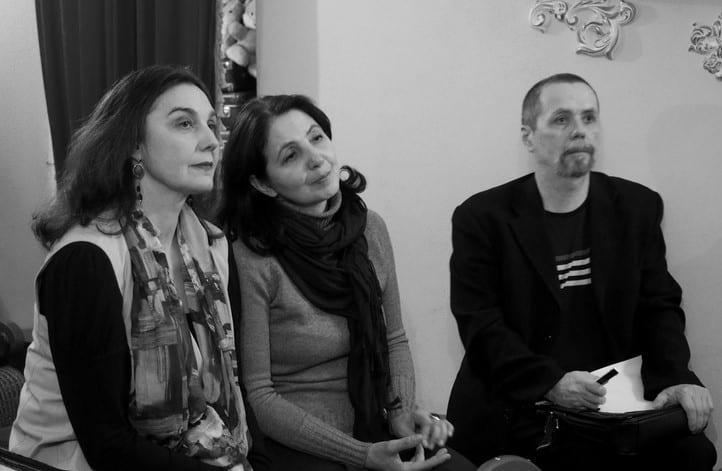 Слева направо: исполнители авторской песни Инна Кабашная и Екатерина Шибко, композитор Олег Гуреев