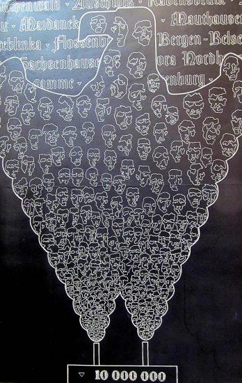 Рейно Юссикайнен. Плакат «10 000 000». Внизу стилизованное изображение крематория. Вверху – названия лагерей смерти. Выходящий из труб дым – сформирован то ли из человеческих лиц, то ли из черепов. Известно, что из 18 миллионов узников концлагерей погибли 11 миллионов