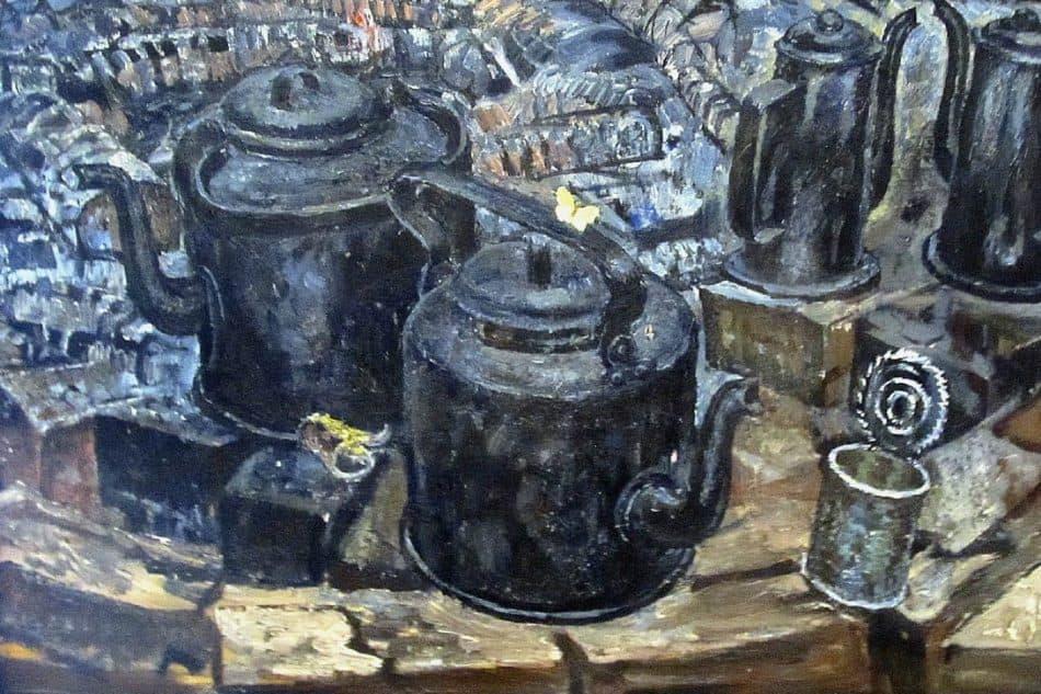 Сергей Якобчук (1937 – 2015). Натюрморт «Черные чайники». 1970