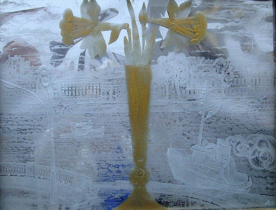 «Весеннее окно». Картина. Листовое стекло, гравировка, золочение, латунь, пайка, серебрение