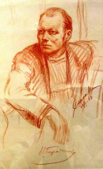 Один из «Бессмертного полка» - карельский художник Осмо Бородкин. Портрет работы другого карельского художника Георгия Адамовича Стронка. 1947