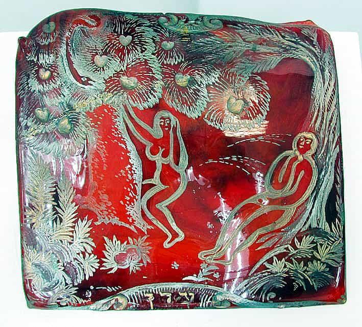 «В райском саду». Декоративный пласт, цветное гутное стекло, гравировка, золочение, серебрение