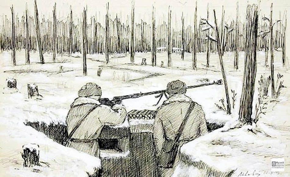 Зиновий Львович ( 1910 – 1965). Траншея в лесу