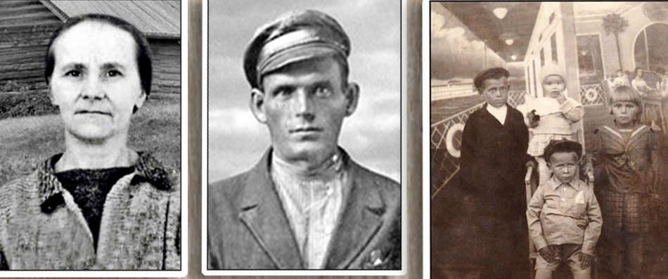 Татьяна Петровна и Иван Васильевич Тишинины. Их дети - Иван, Павла, Виктор Тамара (фото 1936 года)