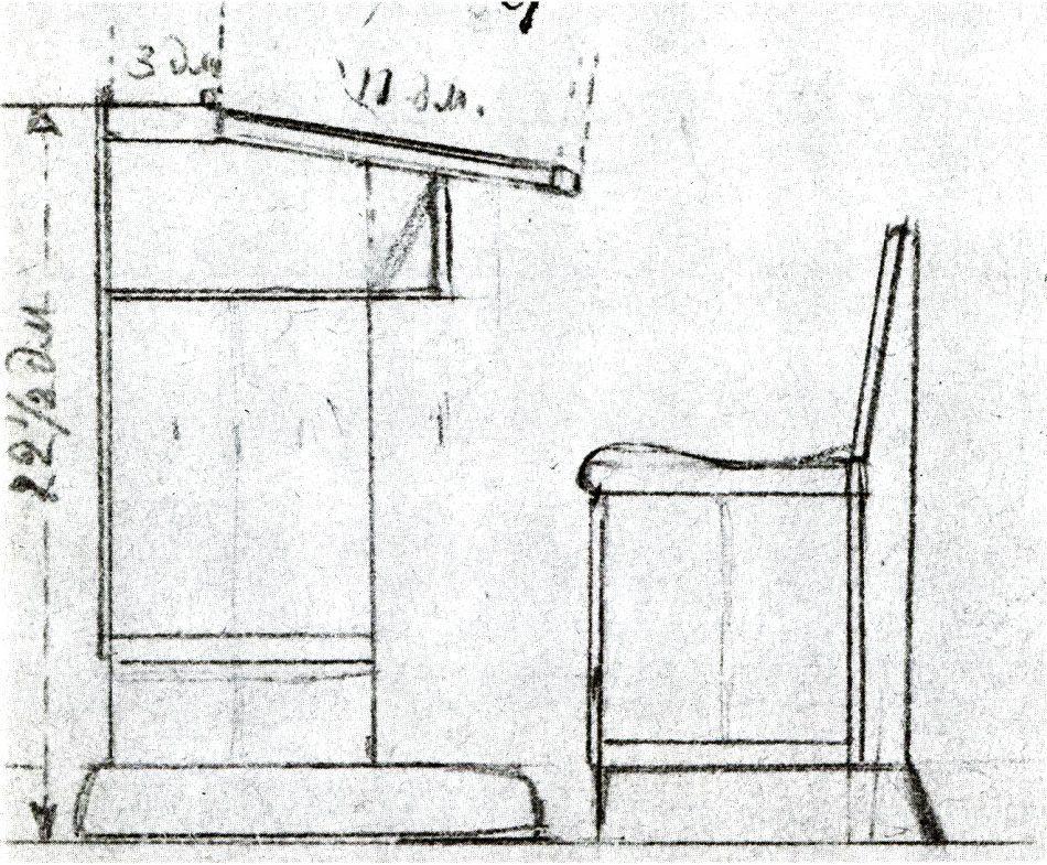 Чертеж парты для Игральной школы, сделанный семилетним А. Ахола