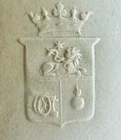 Герб дворян Майеров, тиснение на почтовой бумаге, 1840 год