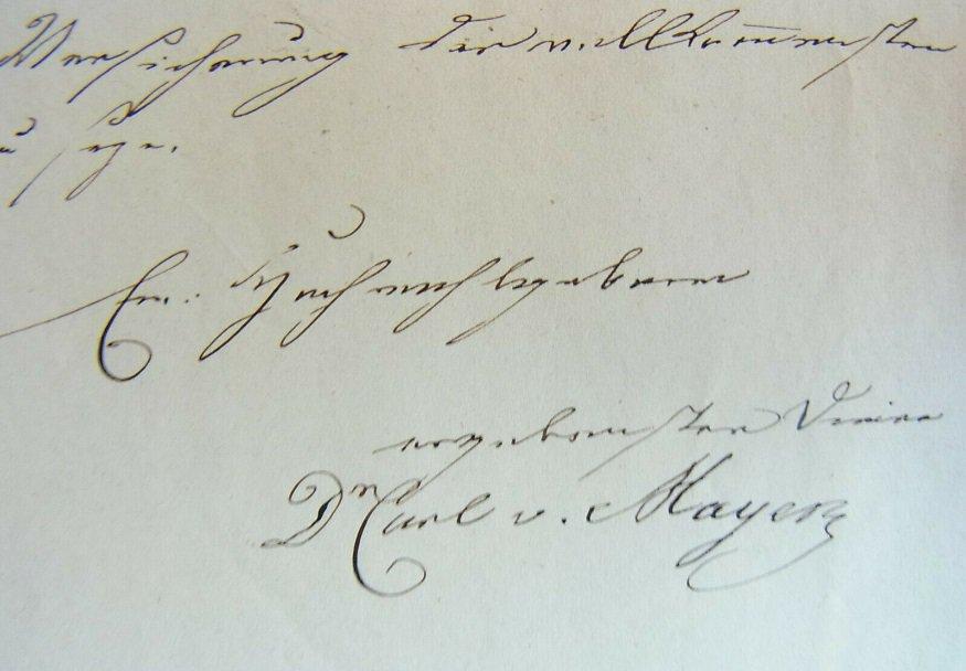 Письмо доктора Карла Майера, 1840 г.
