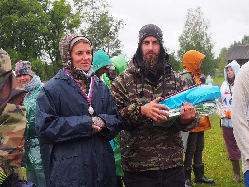 Вера и Евгений Борисовы, семья сотрудников музея, которые заняли второе место в Большой гонке вокруг острова Кижи