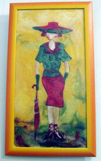 «Дама с зонтиком». Работа мастера Светланы Волковой. Сухое валяние, шерсть