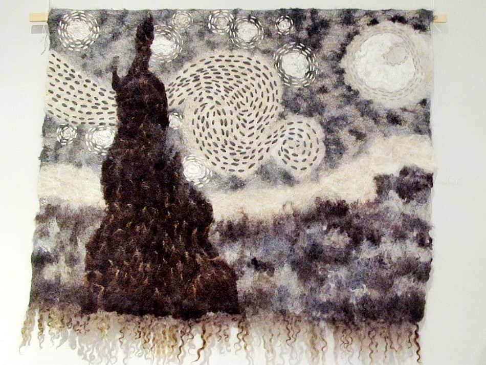 Панно «Белые ночи с Ван Гогом». Мастер Наталья Кузьмина. Мокрое валяние, вышивка. Шерсть, лен