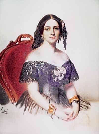 Аврора Карамзина. Художник Эмилио Росси, 1846-1847 гг. Акварель.