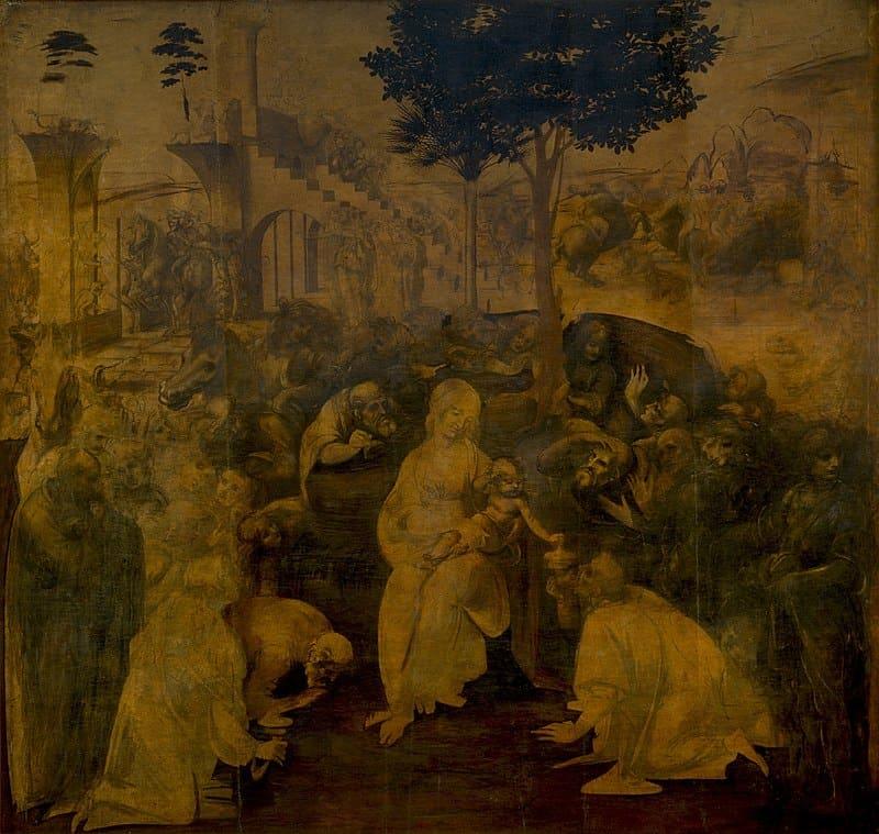 Леонардо да Винчи. Поклонение волхвов. 1481