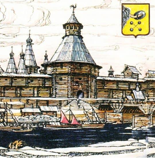 Крепость города Олонца. Заставка к фильму киностудии «Руны». Рис. Н.Куспака