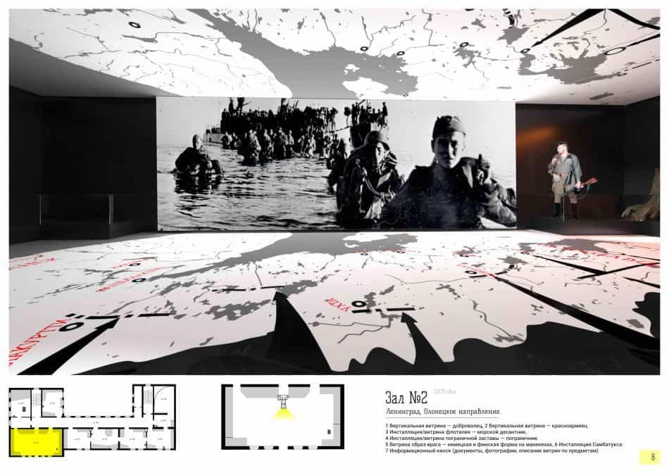 Эскизный проект одного из залов будущего Музея Карельского фронта