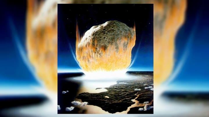 Удар астероида в представлении художника. В этой интерпретации размер небесного тела несколько преувеличен. Иллюстрация NASA/Don Davis.
