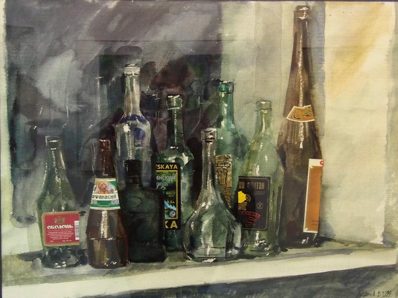 Владимир Лобанов. Бутылки на окне