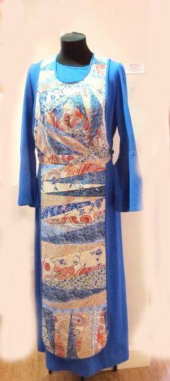 Мария Кошкина. Платье из коллекции «Вдохновение». Шитье, лоскутное шитье, хлопок, лен