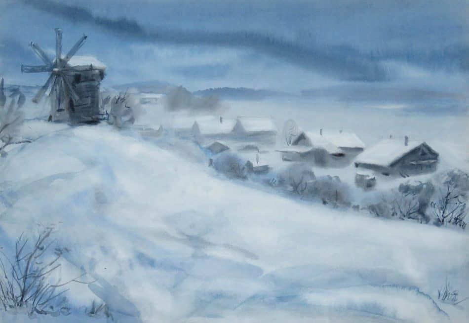 Владимир Лобанов. Зима на о. Кижи. Деревня Ямка. Акварель, 2019