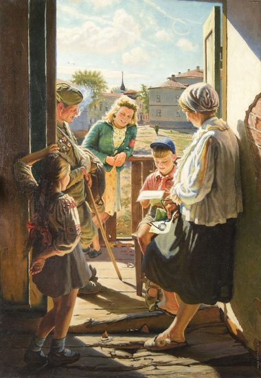 А.И. Лактионов. Письмо с фронта (1947), Третьяковская галерея