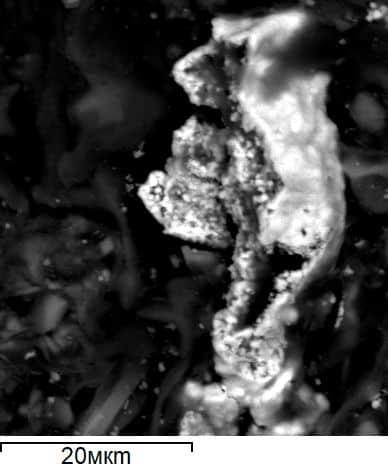 Техногенная частица оксида никеля с примесью железа из отложений озера Комсомольское (mkm – микрометр)