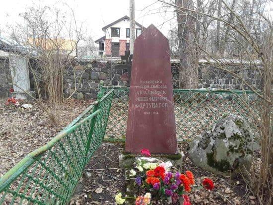 Памятник Ф.Ф. Фортунатову на кладбище в Косалме. Фото Екатерины Лобастовой