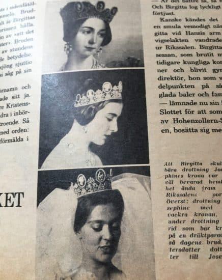 Шведская корона на трех королевах в день их бракосочетания