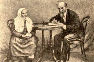 Е.В. Барсов записывает от И.А. Федосовой. Москва, 1896 год. Источник фото: kizhi.karelia.ru
