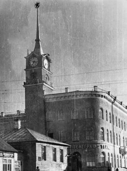 Главпочтамт и дома на Свердлова в 1950 году