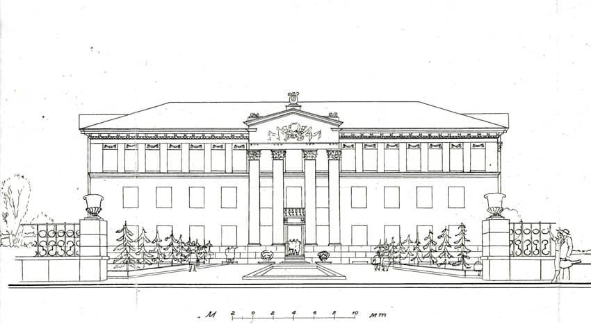 Проект здания музыкального училища. Главный фасад. Архитектор Л.Е. Рудаков