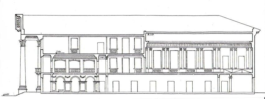 Продольный разрез по зданию. Проект К.Я. Гутина. Хорошо видно устройство главных помещений музыкального училища – двухсветного вестибюля с галереей на 2-м этаже и концертного зала с колоннами коринфского ордера у стен. Слева – портик и выход на балкон – из галереи, расположенной во втором уровне вестибюля