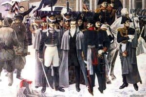 Декабристы на Сенатской площади. 14 декабря 1825 года. Источник: www.pravmir.ru