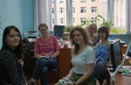 Участницы проекта (слева направо): Яна Шевченко, Алена Изергина, Светлана Липницкая (Беларусь), Мария Кундозерова, Юлия Литвин (Карелия)