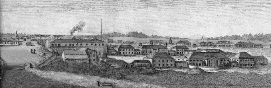 Вид центра Петрозаводска в начале XIX века