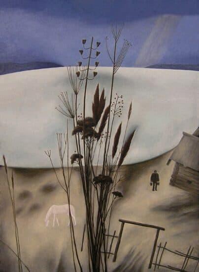 Александр Трифонов. У озера. 1978 г. Оргалит, масло. Музей изобразительных искусств РК