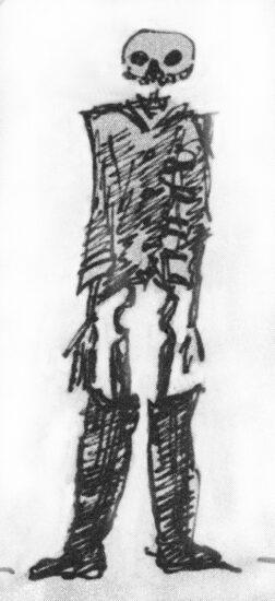 Скелет в обрывках гвардейского мундира. Рисунок А.С.Пушкина