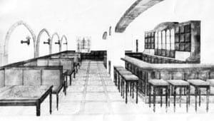 Кафе ''Нойбранденбург''. Проектный рисунок Э. Андреева