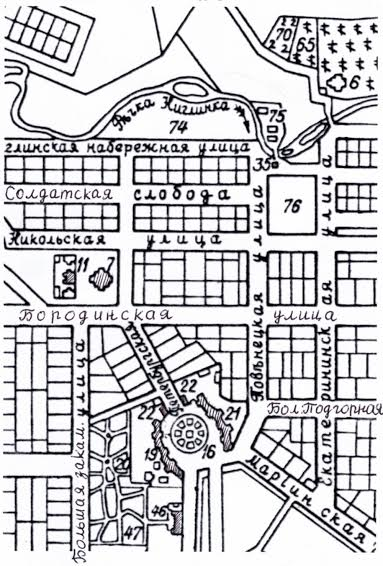 Фрагмент плана Петрозаводска 1854 года, исправленного в 1887 году и в начале ХХ века. 21 – каменный корпус, занимаемый губернскими присутственными местами