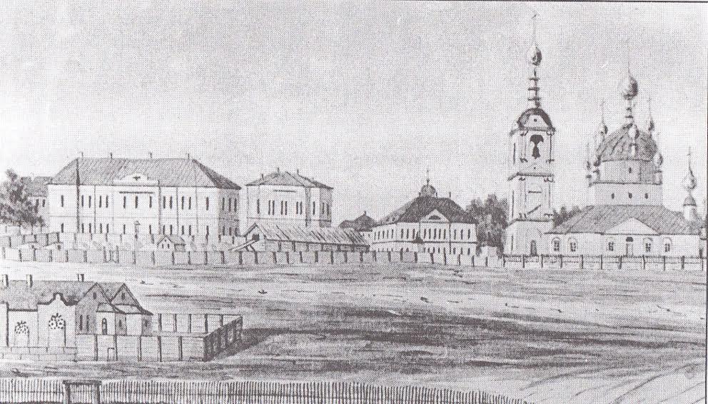 С литографии начала 1860-х годов. Слева губернская гимназия, рядом пансион
