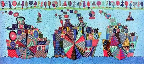 Владимир Фомин. Одна из работ диптиха «Пароходы». Из серии «Лубок»