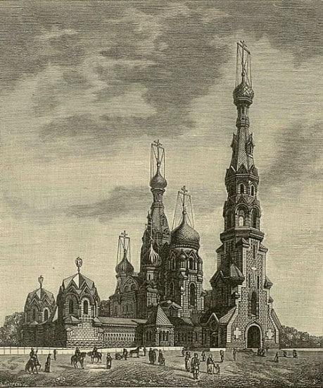 Храм Спаса на Крови в первоначальном проекте  Игнатия Малышева