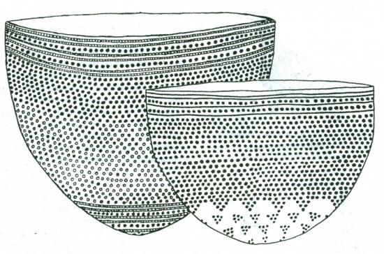 Рис. 1. Неолитические сосуды, украшенные ямочно-гребенчатым орнаментом
