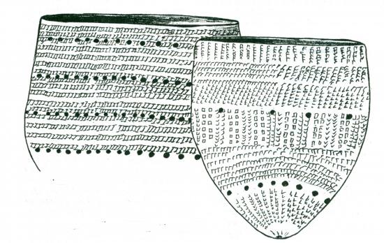 Рис.2. Неолитические сосуды культуры спирринге. Поселение Тудозеро V