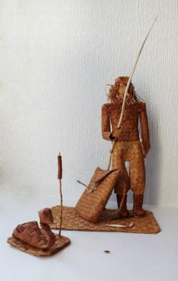Композиция из бересты «Рыбак»  Екатерины  Митрофановой