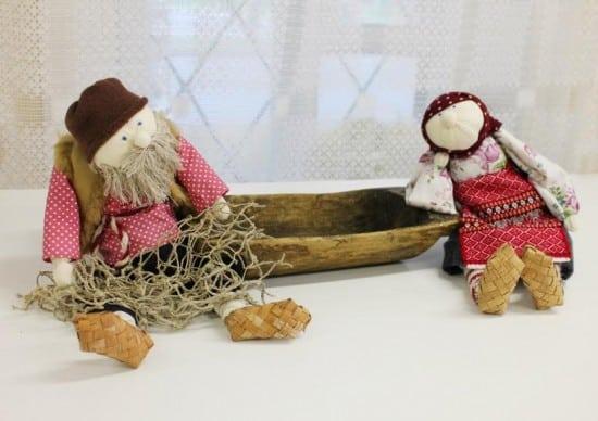 Кукольная композиция (текстиль, народная кукла) «Сказка о рыбаке и рыбке»  Альфины Ерохиной