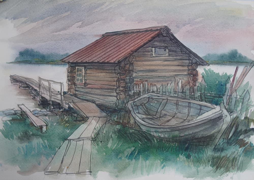 Пейзаж с банькой на о. Еглов. 2003