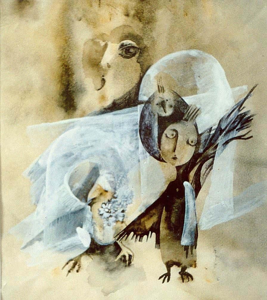 Татьяна Калинина. Автопортрет с попугаем