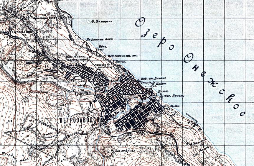 Железнодорожный район на плане Петрозаводска в 1933 году