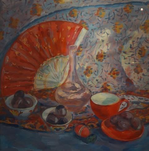 Дарья Одинец. Натюрморт с красным  веером